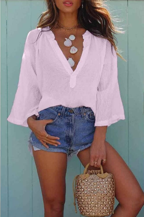 Trendylov Bohemian V-neck Long Sleeve Loose Blouse