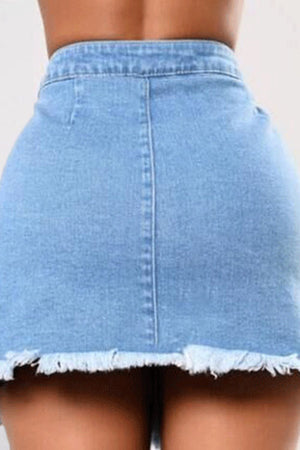 Trendylov Street High Rise Wrap Denim Skirt