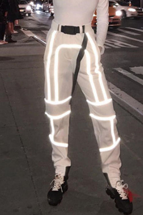 Suolory Street Reflective Design Pants(with belt)