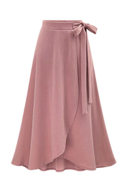 Trendylov Casual Waist Tie Solid Color Long Skirt