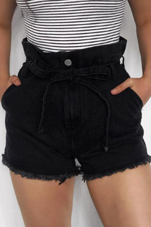 Suolory Casual High Rise Waist Tie Denim Shorts