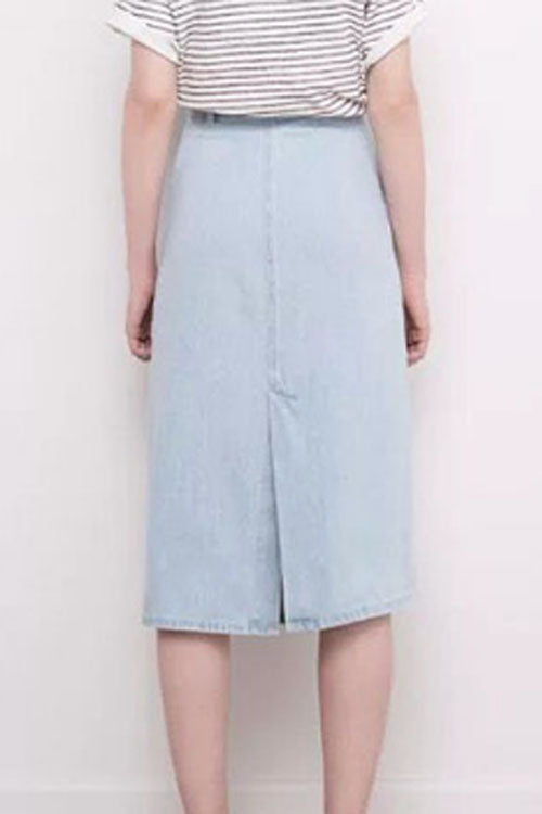 Trendylov Casual High Rise Split Denim Skirt