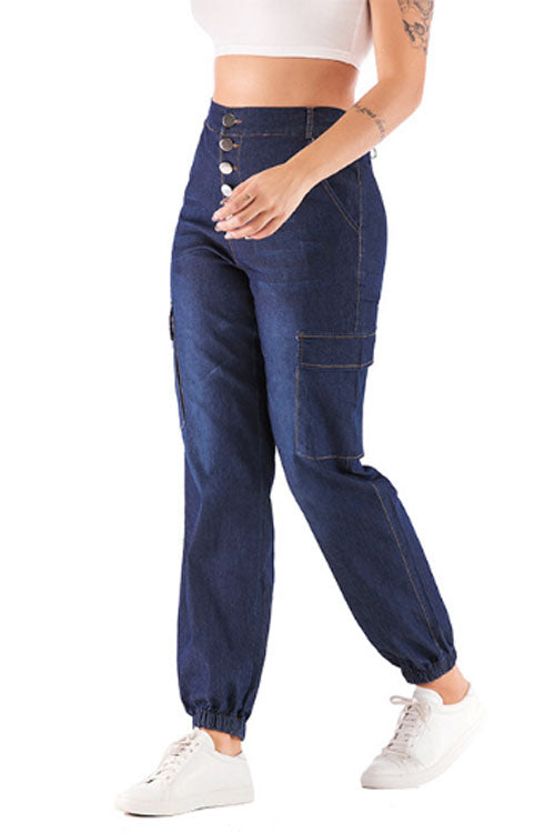 Suolory Casual High Rise Buttons Pockets Jeans