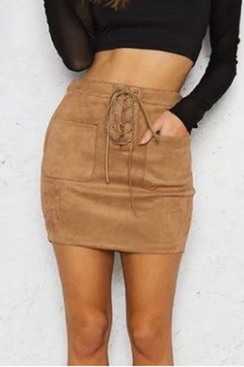 Trendylov Casual High Rise Lace-up Pockets Skirt