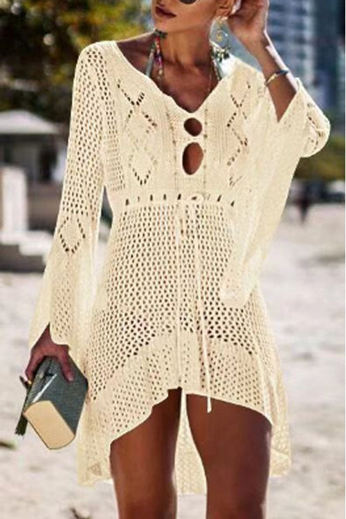 Suolory Bohemian V-neck Long Sleeve Hollow Out Swimdress