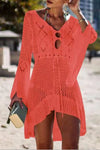 Trendylov Bohemian V-neck Long Sleeve Hollow Out Swimdress