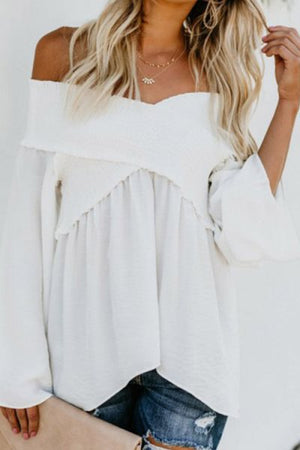 Trendylov Casual Solid Color One Shoulder Patchwork Blouse