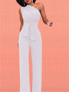 Casual Oblique Shoulder Jumpsuit