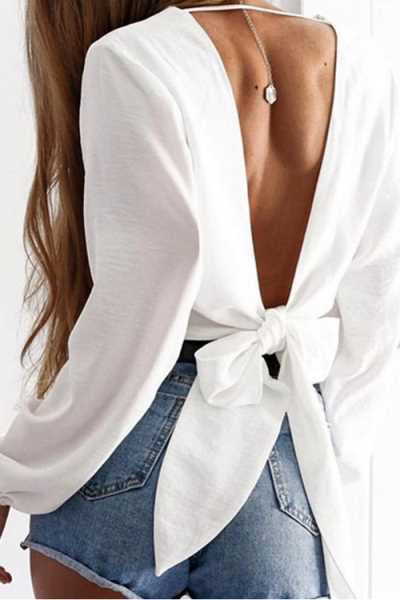 Trendylov Casual Solid Color V-neck Tie Design Backless Long Sleeve Shirt