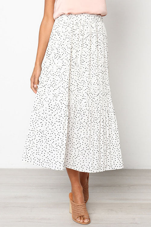 Trendylov Casual Polka Dot Print Pleated Skirt
