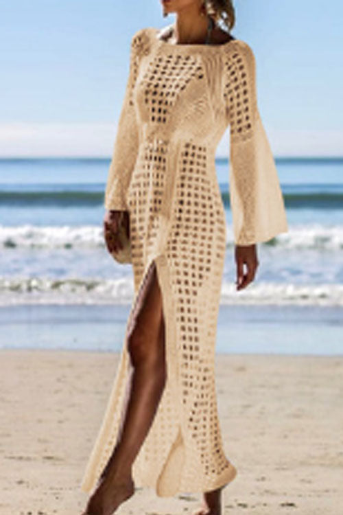 Suolory Bohemian Long Sleeve Hollow Out Split Swimdress