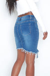 Trendylov Casual Mid Rise Dietrssed Assymetrical Hem Denim Skirt