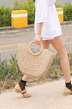 Trendylov Bohemian Solid Color Paper String Knit Bag