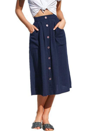 Trendylov Casual High Rise Solid Color Buttons Pockets Loose Skirt