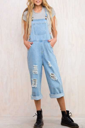 Trendylov Casual Broken Holes Denim Jumpsuit