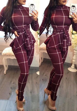 Casual Plaid Long Sleeve Jumpsuit With Belt