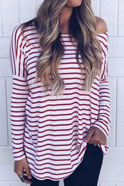 Trendylov Casual One Shoulder Long Sleeve Striped Print T-shirt