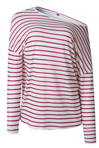 Suolory Casual One Shoulder Long Sleeve Striped Print T-shirt