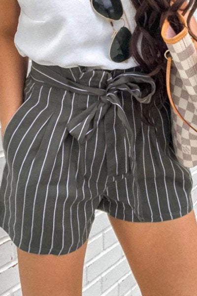 Suolory Bohemian Striped Print Lace Up Pocket Shorts
