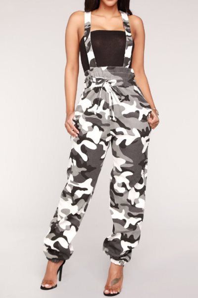 Suolory Casual Frock Style Camouflage Print Jumpsuit