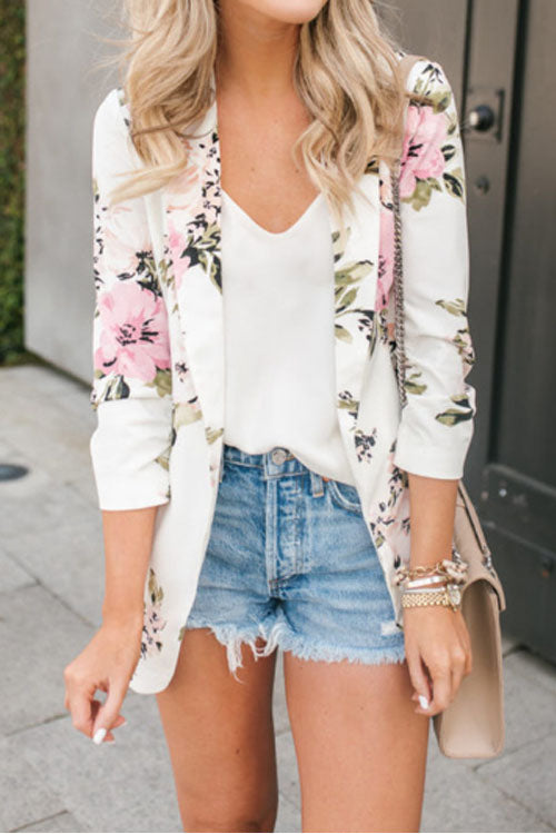 Suolory Casual Floral Print Blazer