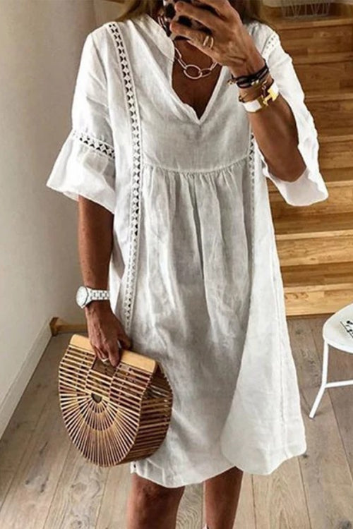 Suolory Bohemian Solid Color Midi Dress