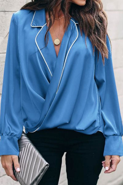 Suolory Casual V-neck Patchwork Long Sleeve Shirt