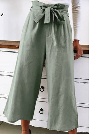 Trendylov Casual Solid Color Tie Loose Pants