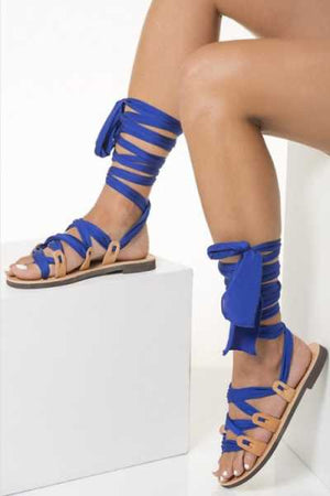 Trendylov Bohemian Leg Wrap Lace Up Flat Sandals