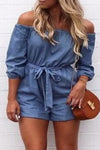 Trendylov Casual Off The Shoulder Denim Romper