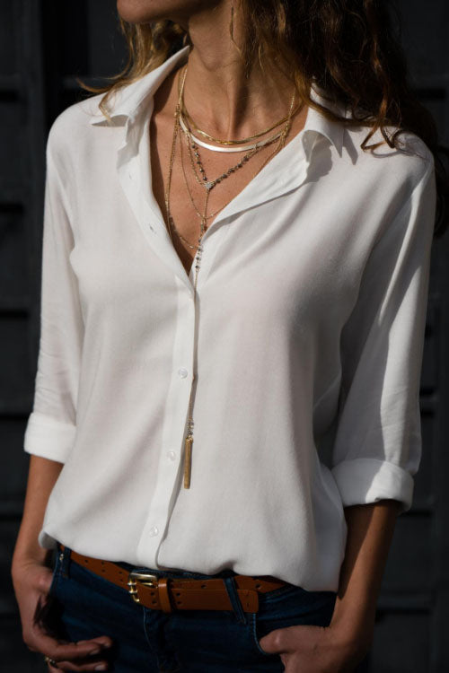 Trendylov Casual V-neck Long Sleeve Chiffon Shirt