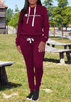 Women's Letter Print Hooded Sweater Two Piece Set