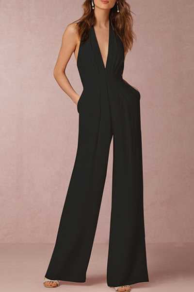 Trendylov OL V-neck Halter Backless Jumpsuit