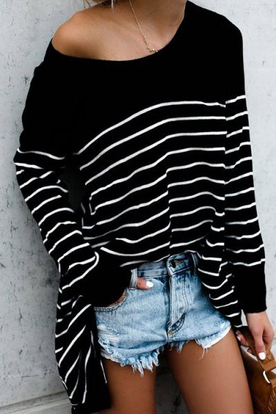 Trendylov Casual Striped Print Long Sleeve T-shirt