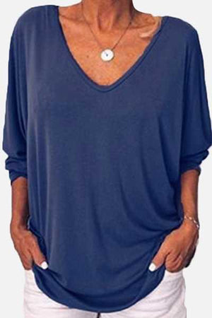 Trendylov Casual V-Neck Button Solid Color T-shirt