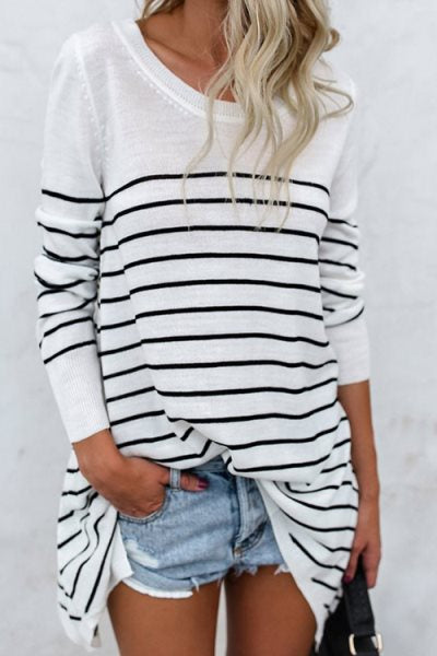 Suolory Casual Striped Print Long Sleeve T-shirt