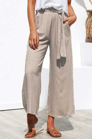 Trendylov Casual Loose Lace Up Wide Leg Pants
