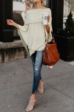 Trendylov Casual Solid Color One Shoulder Asymmetrical Blouse