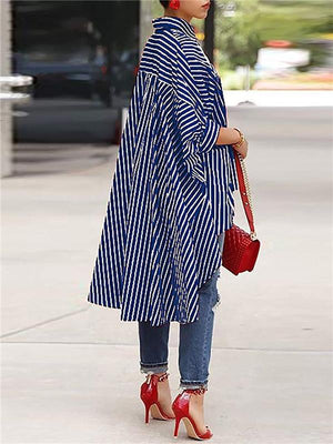 Stripe High-Low Loose Shirtdress