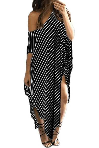 Trendylov Casual Loose Asymmetrical Striped Print Cover-up