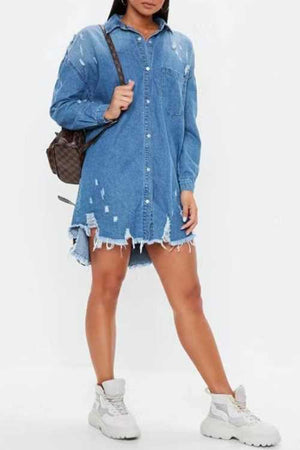 Trendylov Casual Long Sleeve Botton Up Mini Shirt Dress