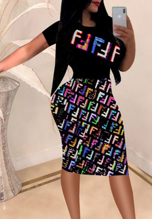 Fashion Short Sleeve Stitching Print Dress