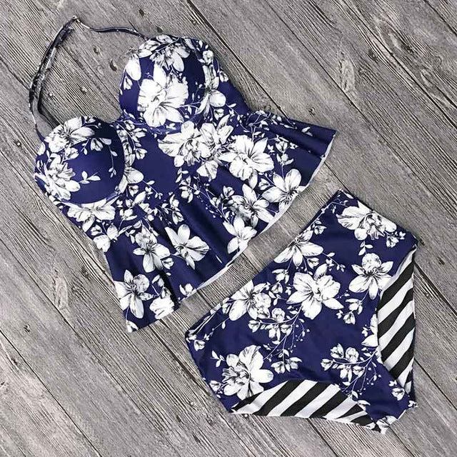 Women Bikinis 2020 High Waist Swimsuit Bodysuits Swimwear Floral Print Bathing Suits Beach Wear Two Piece Tankinis Set