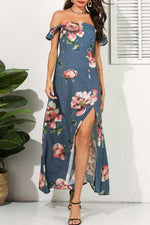 Suolory Bohemian Floral Print High Split Maxi Dress