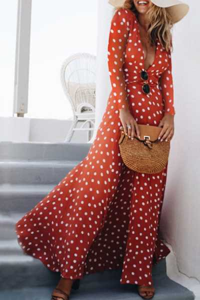 Trendylov Bohemian Deep V-neck Polka Dot Print Maxi Dress