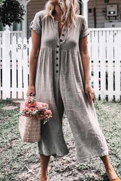 Trendylov Casual Button Up Wide Leg Jumpsuit
