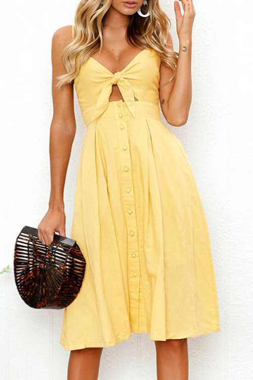 Suolory Bohemian Spaghetti Strap Backless Tie Midi Dress