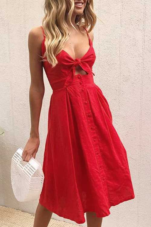 Trendylov Bohemian Spaghetti Strap Backless Tie Midi Dress