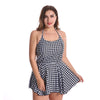Plaid Printed Women Swimsuit Tankini Plus Size Tummy Control Swimdress with Boyshort Soft Cup Bra Two Piece Swim Bathing Suits