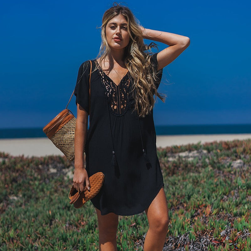 Long Lace Cotton Beach Cover-up Sarong Women Swim Cover-up Beachwear Bikini Cover-up Tunics Beach Dress